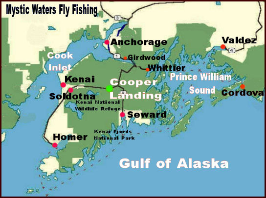 Kenai Peninsula Map Kenai River and Cooper Landing Alaska Maps including the Upper